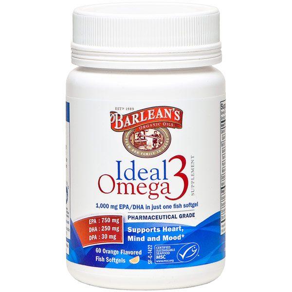 Ideal Omega 3 Fish Oil, Orange, 60 Softgels, Barlean's Organic Oils