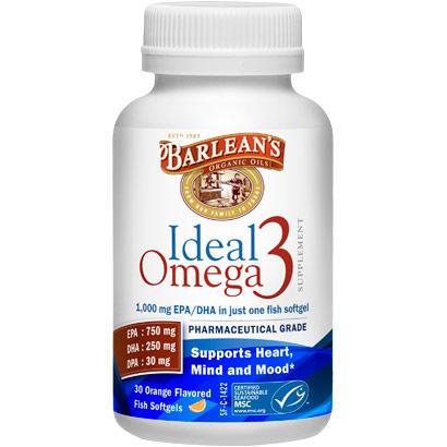 Ideal Omega 3, Orange (1000 mg EPA/DHA), 30 Softgels, Barlean's Organic Oils