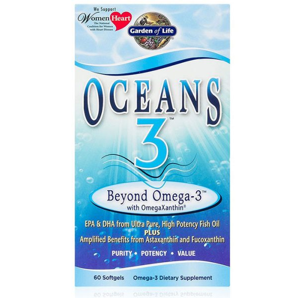 Oceans 3, Beyond Omega-3 with OmegaXanthin Fish Oil, 60 Softgels, Garden of Life
