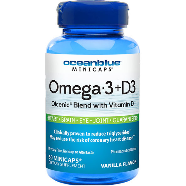 Omega-3 with Vitamin D3, 60 Minicaps, Ocean Blue