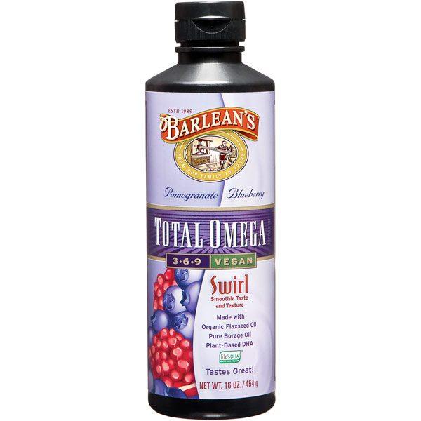 Total Omega 3-6-9 Vegan Swirl Liquid, Pomegranate Blueberry, 16 oz, Barlean's Organic Oils