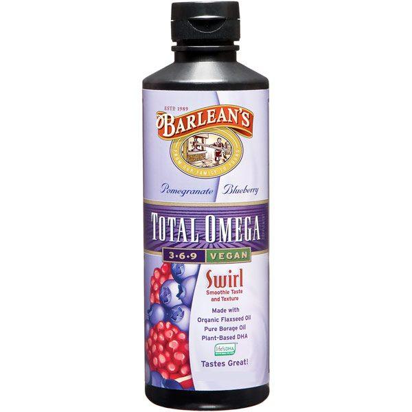 Total Omega 3-6-9 Vegan Swirl Liquid, Pomegranate Blueberry, 8 oz, Barlean's Organic Oils