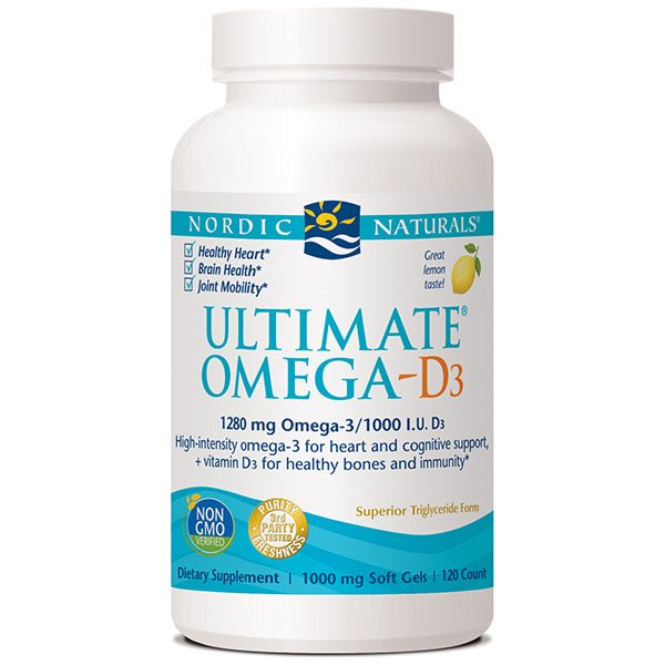 Ultimate Omega-D3, Purified Fish Oil + Vitamin D 3, 120 Softgels, Nordic Naturals