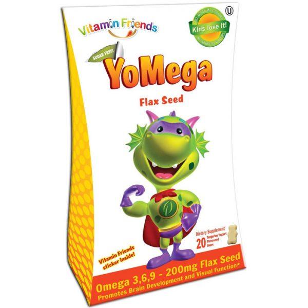 YoMega Omega 3-6-9 Flax Seed Gummies, Sugar Free, Tangerine Yogurt, 20 Bears, Vitamin Friends
