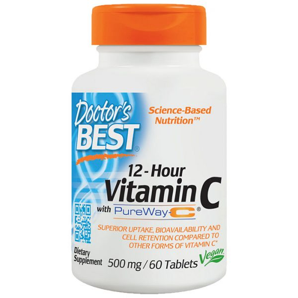 12-Hour Vitamin C with PureWay-C 500 mg, 60 Tablets, Doctor's Best