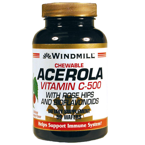 Acerola Vitamin C 500 mg Chewable, 50 Wafers, Windmill Health Products