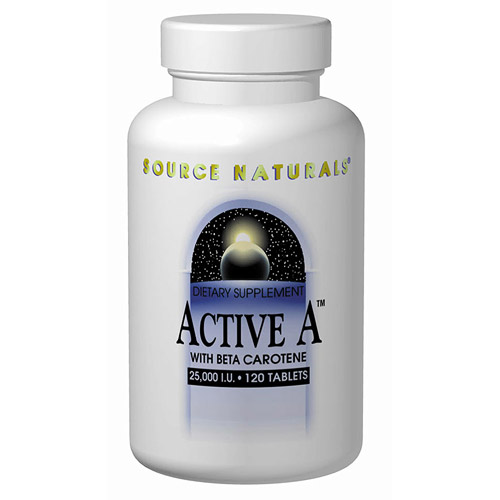 Active A, Vitamin A with Beta Carotene 25,000 IU 120 tabs from Source Naturals