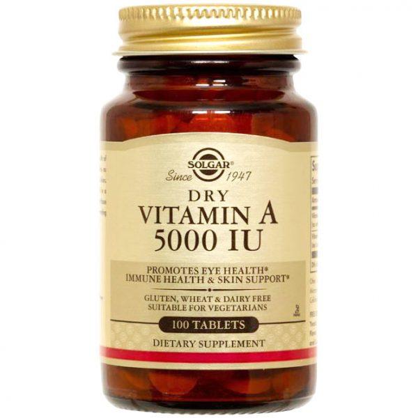 Dry Vitamin A 5,000 IU, 100 Tablets, Solgar
