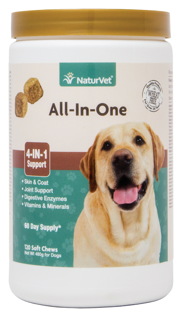 NaturVet All-in-One 4-IN-1 Support for Dogs, Soft Chews (120 Count)