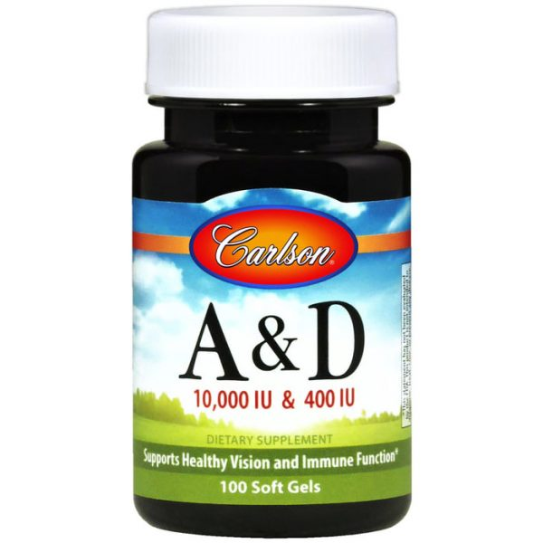Vitamins A & D 10,000 + 400 IU 100 softgels, Carlson Labs