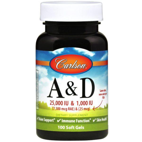 Vitamins A & D 25,000 + 1000 IU 100 softgels, Carlson Labs
