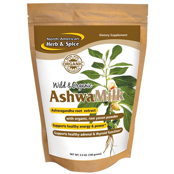 AshwaMilk Drink Mix, Ashwagandha with Yacon Powder, 3.5 oz, North American Herb & Spice