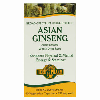 Asian Ginseng 450 mg, 60 Vegetarian Capsules, Herb Pharm